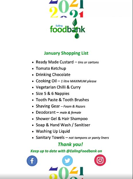 Foodbank Jan 2021 list
